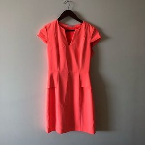 Tahari neon coral pink dress